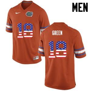 Men Florida Gators #18 Daquon Green College Football USA Flag Fashion Orange 924541-191