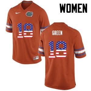 Women Florida Gators #18 Daquon Green College Football USA Flag Fashion Orange 616883-471