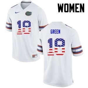 Women Florida Gators #18 Daquon Green College Football USA Flag Fashion White 967643-524