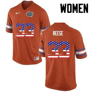 Women Florida Gators #33 David Reese College Football USA Flag Fashion Orange 173783-549