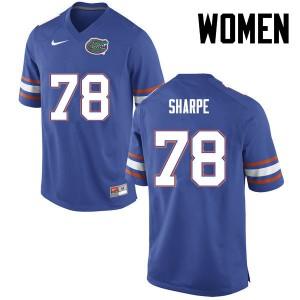 Women Florida Gators #78 David Sharpe College Football Blue 562145-749