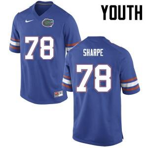 Youth Florida Gators #78 David Sharpe College Football Blue 516683-329