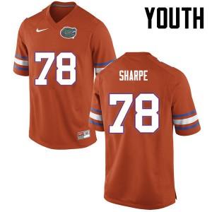 Youth Florida Gators #78 David Sharpe College Football Orange 821481-592