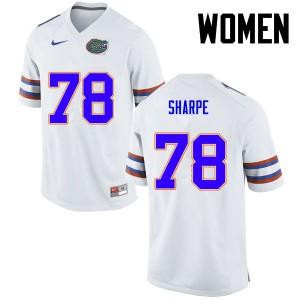 Women Florida Gators #78 David Sharpe College Football White 569300-711