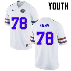 Youth Florida Gators #78 David Sharpe College Football White 469237-332