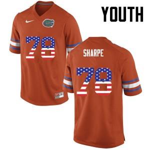 Youth Florida Gators #78 David Sharpe College Football USA Flag Fashion Orange 728583-467