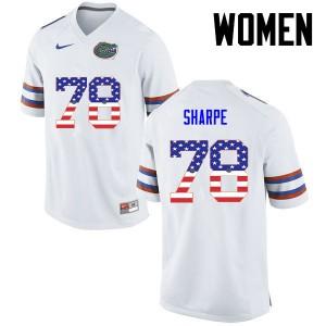 Women Florida Gators #78 David Sharpe College Football USA Flag Fashion White 164118-556