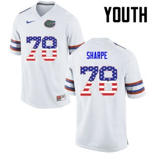 Youth Florida Gators #78 David Sharpe College Football USA Flag Fashion White 602720-652