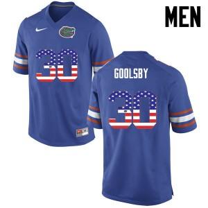 Men Florida Gators #30 DeAndre Goolsby College Football USA Flag Fashion Blue 417646-368