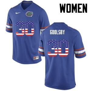 Women Florida Gators #30 DeAndre Goolsby College Football USA Flag Fashion Blue 606406-317