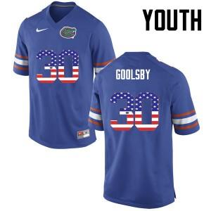 Youth Florida Gators #30 DeAndre Goolsby College Football USA Flag Fashion Blue 989647-286