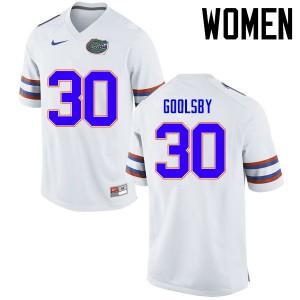Women Florida Gators #30 DeAndre Goolsby College Football Jerseys White 448970-754