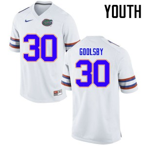 Youth Florida Gators #30 DeAndre Goolsby College Football Jerseys White 912204-227