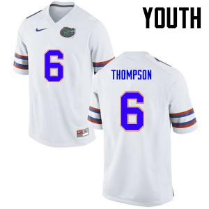 Youth Florida Gators #6 Deonte Thompson College Football White 241064-382