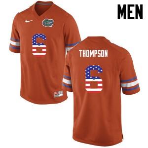 Men Florida Gators #6 Deonte Thompson College Football USA Flag Fashion Orange 858273-729