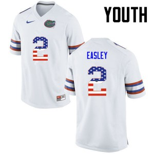 Youth Florida Gators #2 Dominique Easley College Football USA Flag Fashion White 296224-631