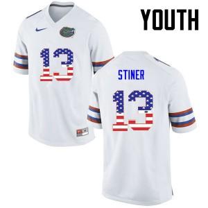 Youth Florida Gators #13 Donovan Stiner College Football USA Flag Fashion White 274581-485