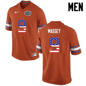 Men Florida Gators #9 Dre Massey College Football USA Flag Fashion Orange 148409-636