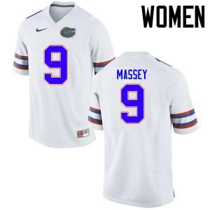 Women Florida Gators #9 Dre Massey College Football Jerseys White 404428-531