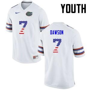 Youth Florida Gators #7 Duke Dawson College Football USA Flag Fashion White 757415-866
