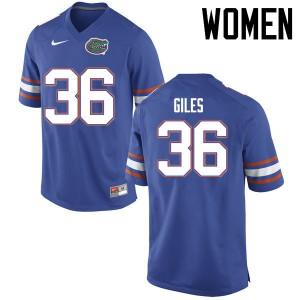Women Florida Gators #36 Eddie Giles College Football Jerseys Blue 213201-666