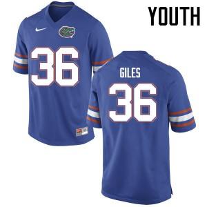 Youth Florida Gators #36 Eddie Giles College Football Jerseys Blue 129898-229