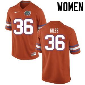 Women Florida Gators #36 Eddie Giles College Football Jerseys Orange 863895-928