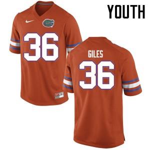 Youth Florida Gators #36 Eddie Giles College Football Jerseys Orange 256636-639