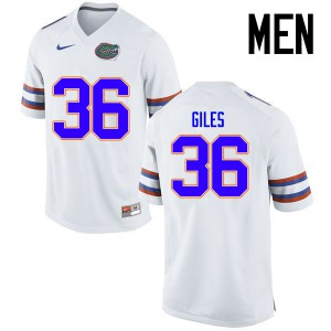 Men Florida Gators #36 Eddie Giles College Football Jerseys White 802777-646