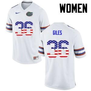 Women Florida Gators #36 Eddie Giles College Football USA Flag Fashion White 322625-446