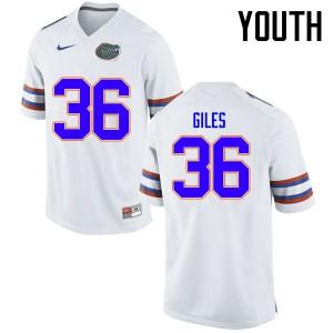 Youth Florida Gators #36 Eddie Giles College Football Jerseys White 603658-166