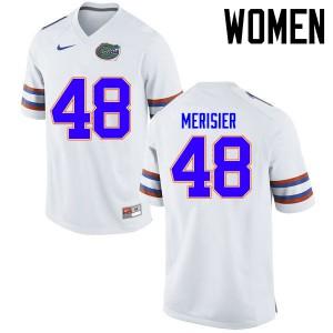 Women Florida Gators #48 Edwitch Merisier College Football Jerseys White 279517-421