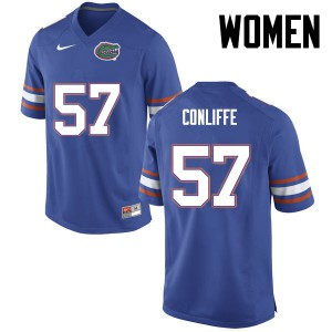 Women Florida Gators #57 Elijah Conliffe College Football Blue 165185-810