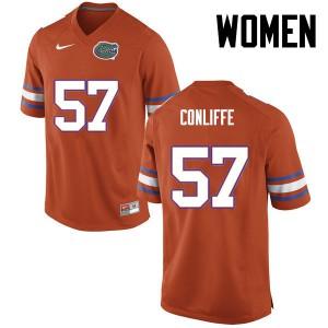 Women Florida Gators #57 Elijah Conliffe College Football Orange 924517-633