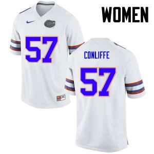 Women Florida Gators #57 Elijah Conliffe College Football White 202284-862