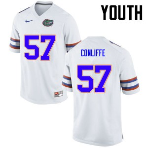 Youth Florida Gators #57 Elijah Conliffe College Football White 187647-650