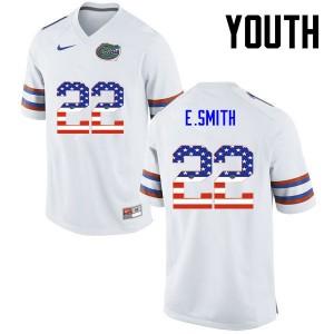 Youth Florida Gators #22 Emmitt Smith College Football USA Flag Fashion White 291722-589