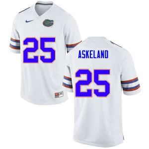 Men #25 Erik Askeland Florida Gators College Football Jerseys White 319163-334