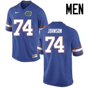 Men Florida Gators #74 Fred Johnson College Football Jerseys Blue 180566-202