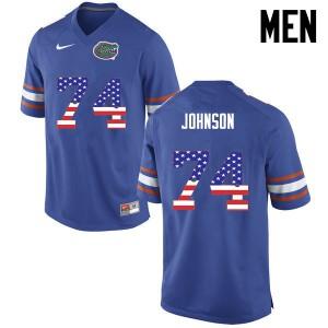 Men Florida Gators #74 Fred Johnson College Football USA Flag Fashion Blue 818476-933