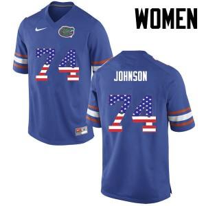 Women Florida Gators #74 Fred Johnson College Football USA Flag Fashion Blue 858642-973