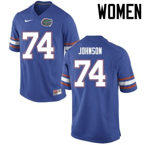 Women Florida Gators #74 Fred Johnson College Football Jerseys Blue 336994-783