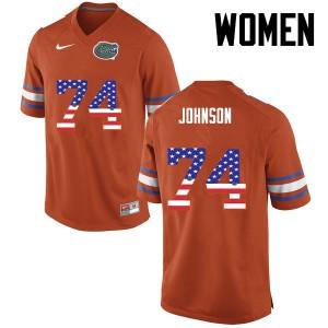 Women Florida Gators #74 Fred Johnson College Football USA Flag Fashion Orange 137838-453