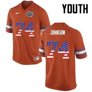 Youth Florida Gators #74 Fred Johnson College Football USA Flag Fashion Orange 192916-393