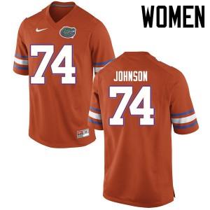 Women Florida Gators #74 Fred Johnson College Football Jerseys Orange 817957-467
