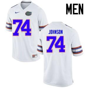 Men Florida Gators #74 Fred Johnson College Football Jerseys White 928206-793