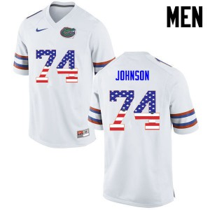 Men Florida Gators #74 Fred Johnson College Football USA Flag Fashion White 412123-967