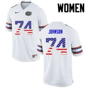 Women Florida Gators #74 Fred Johnson College Football USA Flag Fashion White 728840-330