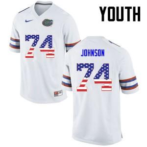 Youth Florida Gators #74 Fred Johnson College Football USA Flag Fashion White 269870-250