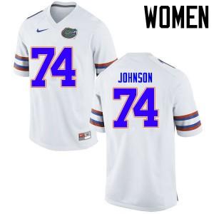 Women Florida Gators #74 Fred Johnson College Football Jerseys White 850015-772